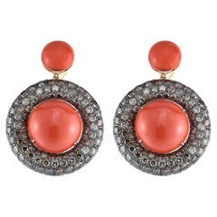 Brown Diamond and Coral, Gold Drop Earrings