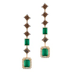 Brown Diamond and Emerald Dangle Earrings