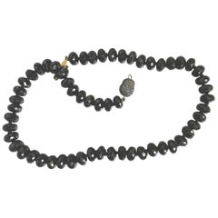 Brown Diamond Clasp Onyx Multi Facets Beaded Necklace