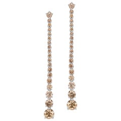 Brown Diamond Dangle Earrings Set in Platinum