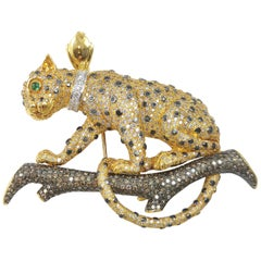 Brown Diamond, Diamond, Black Diamond Panther Brooch or Pendant in 18 Karat Gold
