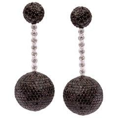 Brown Diamond Earrings in 18 Karat White Gold