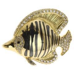 Brown Diamond, Enamel, 18 Karat Yellow Gold Fish Brooch