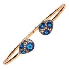Brown Diamond Evil Eye Talisman 18 Karat Rose Gold Blue Enamel Bangle