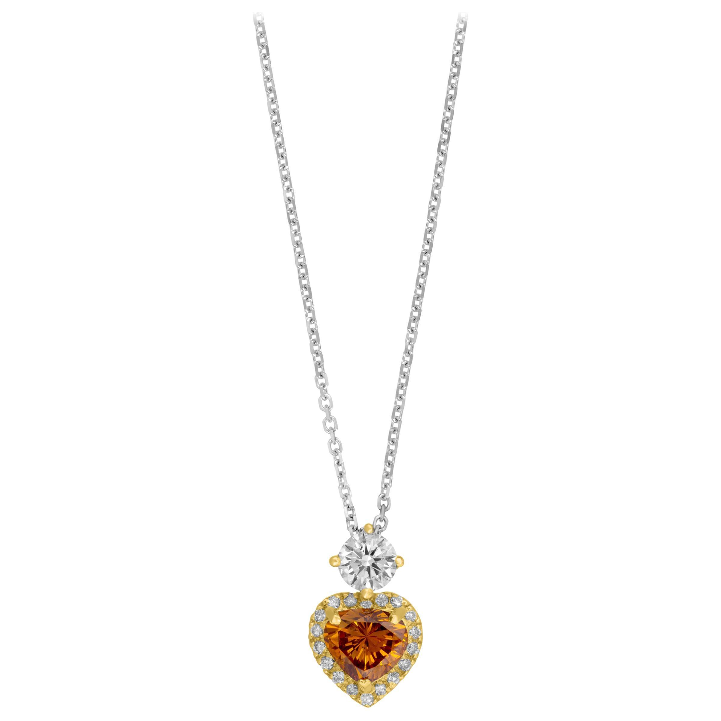 Brown Diamond Heart Pendant 0.31 Carat