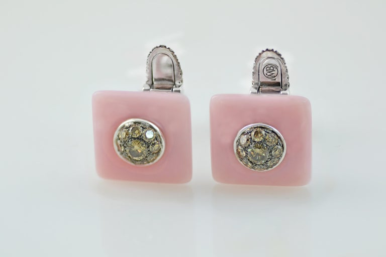 Contemporary Margherita Burgener Brown Diamond Pink Opal 18 KT Gold Handcrafted Cufflinks  For Sale