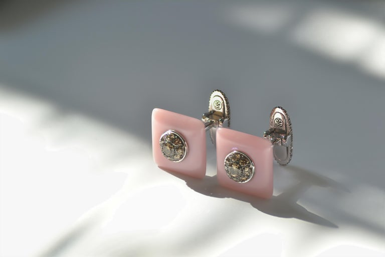 Women's or Men's Margherita Burgener Brown Diamond Pink Opal 18 KT Gold Handcrafted Cufflinks  For Sale
