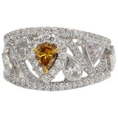 Brown Diamond Ring Mix Shape Diamonds 18 Karat White Gold