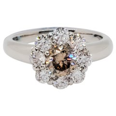 Brown Diamond Round and White Diamond Floral Cluster Round Ring in Platinum