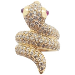 Brown Diamond with Cabochon Ruby Snake Ring Set in 18 Karat Rose Gold Settings