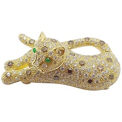 Brown Diamond with Emerald Panther Brooch Set in 18 Karat Gold