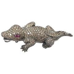 Brown Diamond with Ruby Crocodile/Alligator Brooch/Pendant Set in 18 Karat Gold