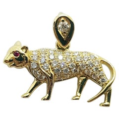 Brown Diamond with Ruby Tiger Chinese Zodiac Pendant Set in 18 Karat Gold