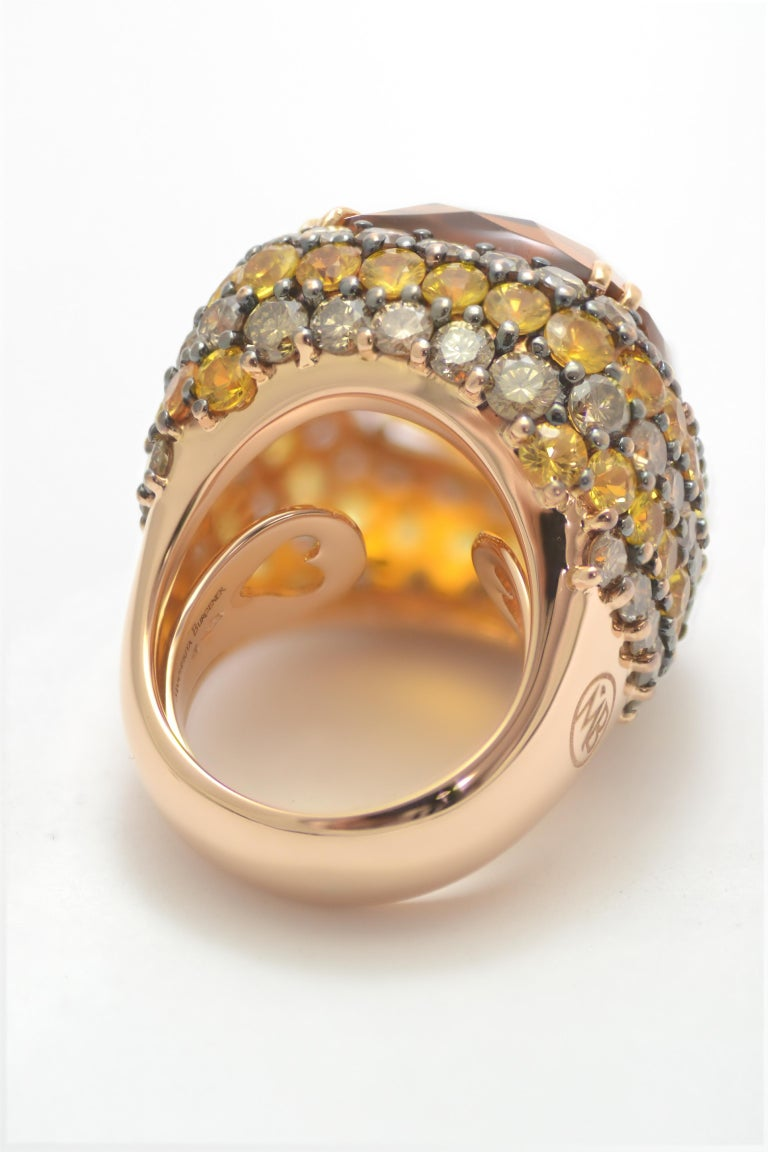 Contemporary Brown Diamond Yellow Sapphire Citrin Quartz 18Kt Yellow Gold Cocktail Ring For Sale