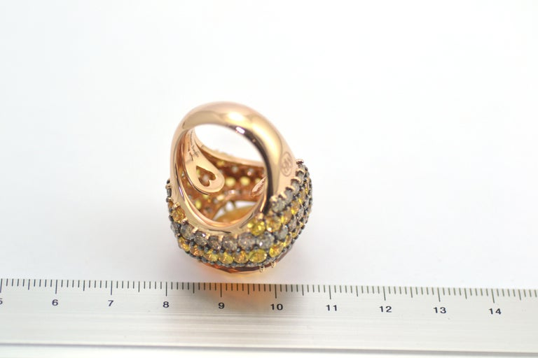 Brown Diamond Yellow Sapphire Citrin Quartz 18Kt Yellow Gold Cocktail Ring In New Condition For Sale In Valenza , IT