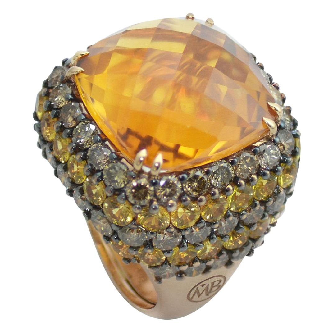Brown Diamond Yellow Sapphire Citrin Quartz 18Kt Yellow Gold Cocktail Ring