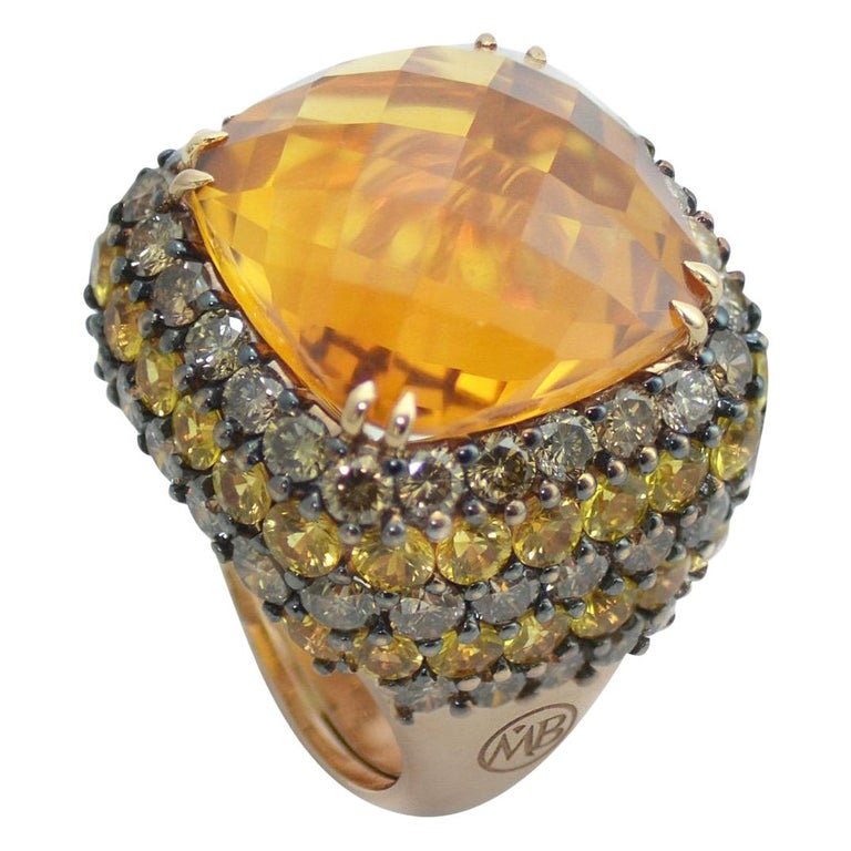 Brown Diamond Yellow Sapphire Citrin Quartz 18Kt Yellow Gold Cocktail Ring For Sale