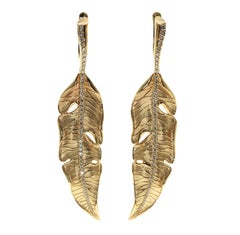 Champagne Diamonds 18 Karat Yellow Gold Leaf Earrings