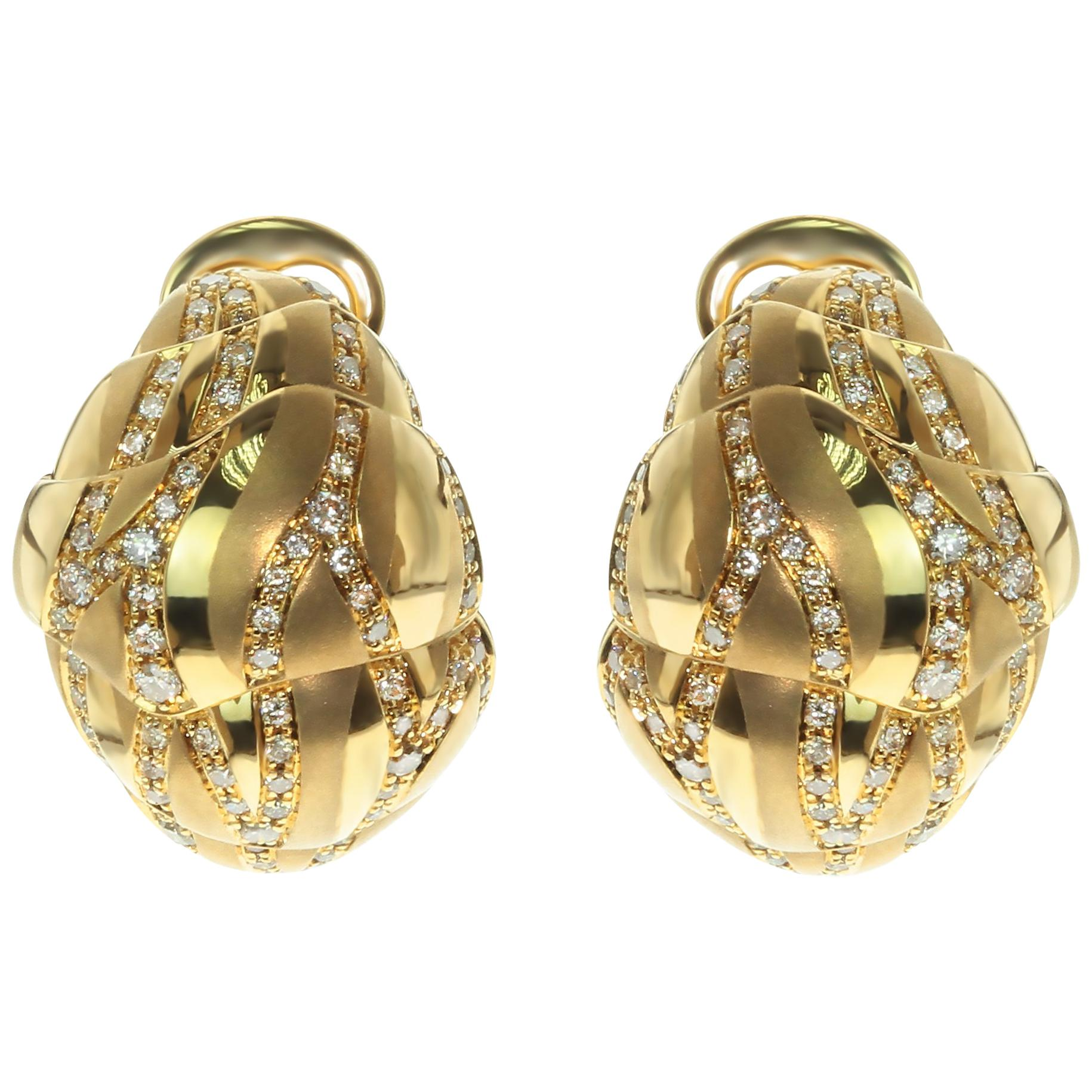 Brown Diamonds 18 Karat Yellow Gold Sand-Dune Earrings