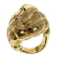 Brown Diamonds 18 Karat Yellow Gold Sand-Dune Ring