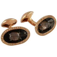 Brown Diamonds and 18 Karat Rose Gold Cufflinks