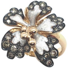 Brown Diamonds Flower Ring 18 Carat Rose Gold and White Enamel Petals