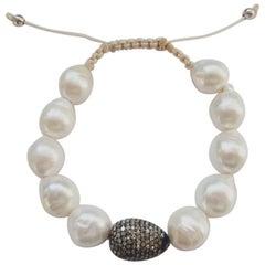 Brown Diamonds Pave and Pearls Bracelet