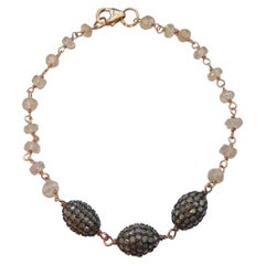 Brown Diamonds Pave, Natural Zircon and 18kt Gold Bracelet