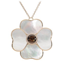 Brown Diamonds Smoky Quartz Mother of Pearls Pink Gold Flower Pendant Necklace