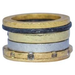 Brown Diamonds Yellow 18k 22k Gold Bridal Wedding Band Ring, Stack #3