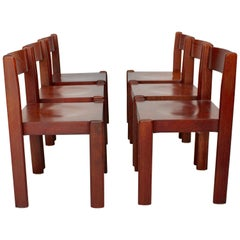 Brown Vintage Dining Room Chairs Mid-Century Modern Set of Six, Italy, 1970