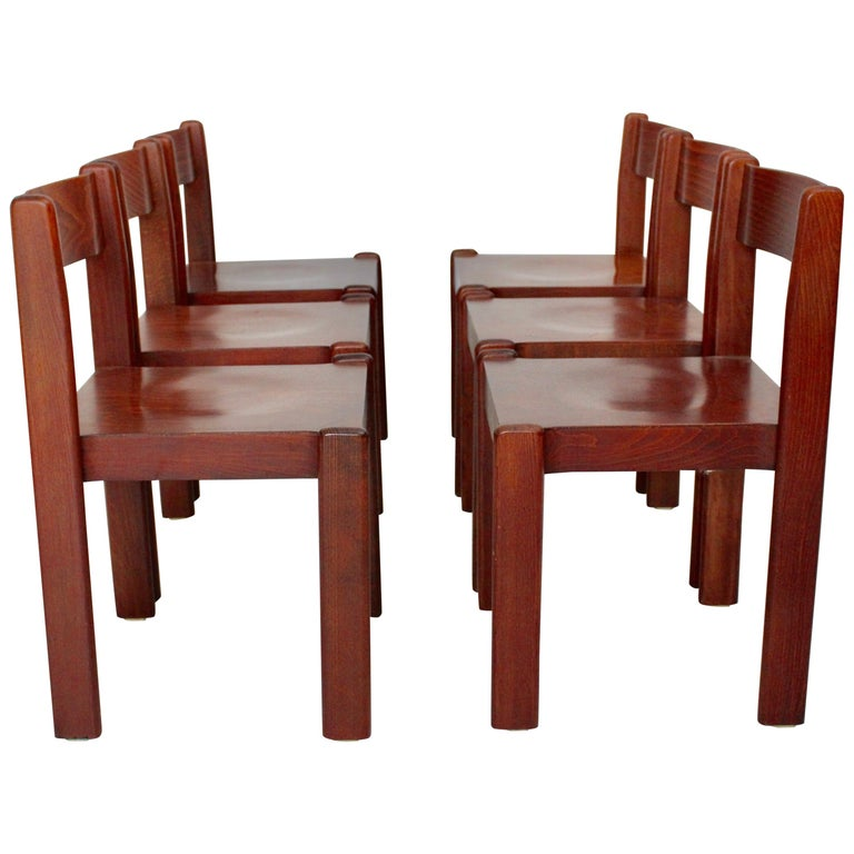 Vintage Mid Century Dining Rooms: Brown Vintage Dining Room Chairs Mid-Century Modern Set Of