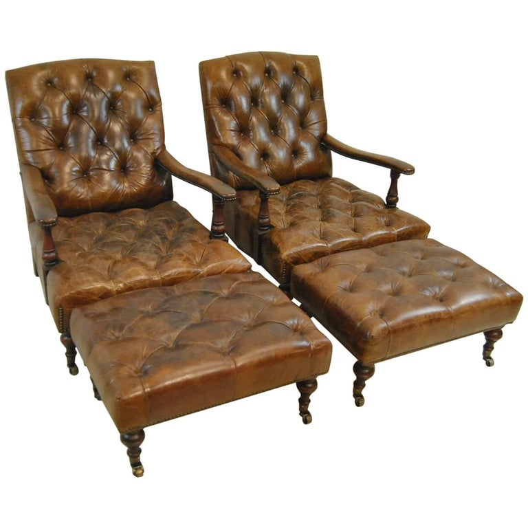 Brown Distressed Leather Library Chairs And Ottomans By