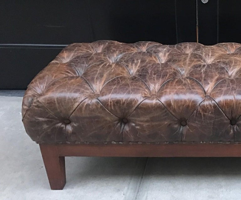 Mid-Century Modern Brown Distressed Tufted Leather Bench