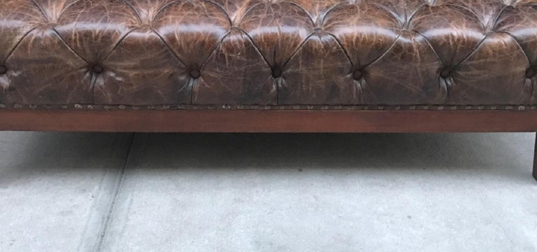 Brown Distressed Tufted Leather Bench In Good Condition In New York, NY
