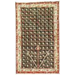 Brown Early 20th Century Antique Turkish Ghiordes Rug