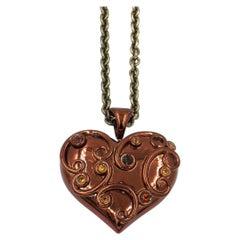 Chocolate Enamel Heart Silver Pendant with Citrine Madera Citrine Smoky Quartz