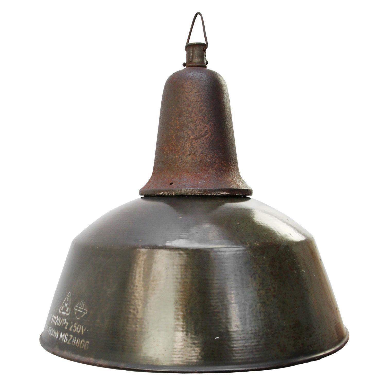 Brown Enamel Vintage Industrial Cast Iron Pendant Light