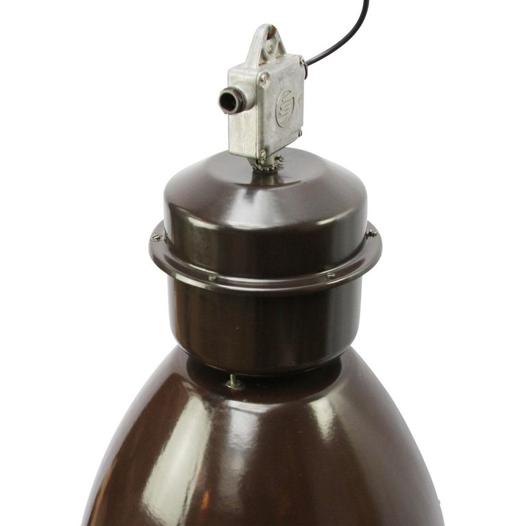 Very large industrial lamp. Dark brown enamel. White interior.  Weight: 7.5 kg / 16.5 lb  Priced per individual item. All lamps have been made suitable by international standards for incandescent light bulbs, energy-efficient and LED bulbs.