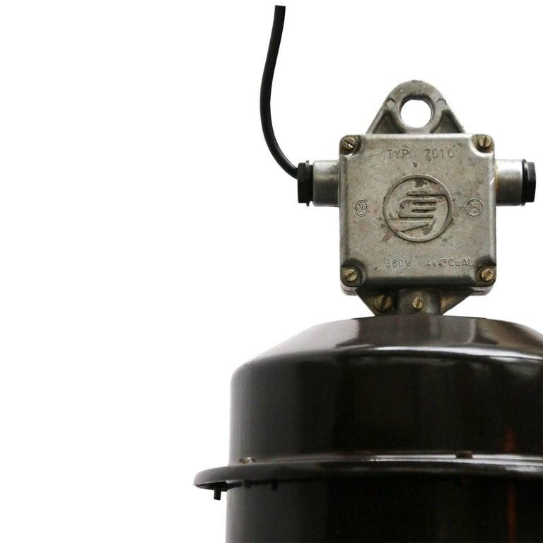 Czech Brown Enamel Vintage Industrial Factory Pendant Lamps For Sale