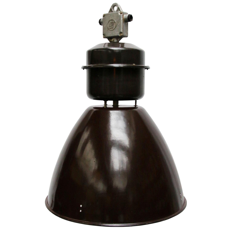 Brown Enamel Vintage Industrial Factory Pendant Lamps