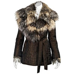 Brown Escada Silver Fox-Trimmed Quilted Coat