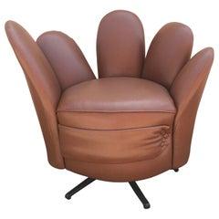 Brown Faux-Ostrich Swivel Hand Chair