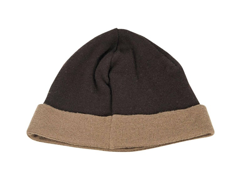 3ec8a25cc3c Product details  Brown wool Zucca beanie by Fendi. Logo accent.