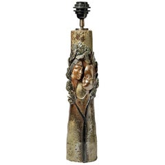 Brown Figurative Stoneware Ceramic Lamp by Alain Girel La Borne, circa 1975