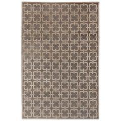 Brown Geometric Design Rug