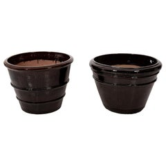 Brown Glazed Garden Containers