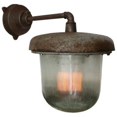 Brown Gray Vintage Industrial Cast Iron Holophane Glass Wall Lights