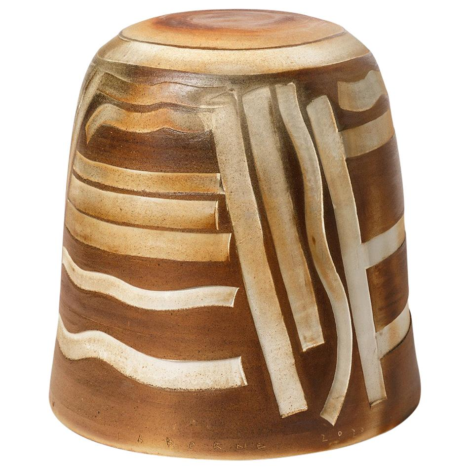 Brown, Grey and White Stoneware Ceramic Stool by Roz Herrin Modern Design