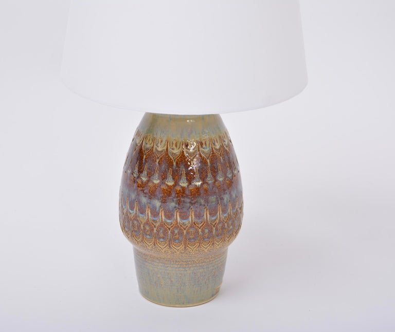 Brown handmade Mid-Century Modern Danish stoneware table lamp by Soholm Stentoj